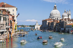 Gorgeous view of the Grand Canal and Basilica Santa Maria della Royalty Free Stock Photo