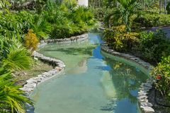 Gorgeous view of home tropical garden river Stock Photos