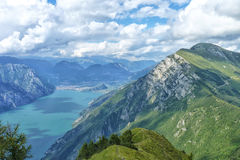 Gorgeous View from the Italian Alps. View from the top of Monte Baldo, part of the Italian Alps by Lake Garda in northern Italy Royalty Free Stock Images