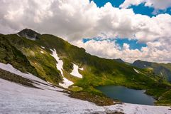 Gorgeous view of lake in high mountains. Lovely summer landscape with snow on grassy hills Royalty Free Stock Image