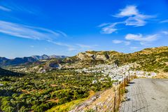 Gorgeous view of the landscape of the Mediterranean island Naxos in Greece. Beautiful sunny day with a view of hills and sky from the island Naxos stock images