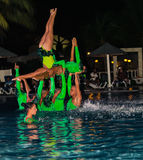 Gorgeous view of live performance by hotel entertainment team at night water show Royalty Free Stock Photography