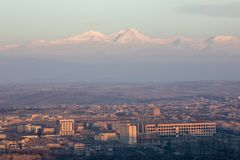 Sunrise. Yerevan City, Armenia. Gorgeous view of the Mt. Ararat from the Armenian plateau. This photo is taken from the roof of the 18 floor building in Yerevan Stock Images