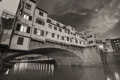 Gorgeous view of Old Bridge, Ponte Vecchio in Florence at sunset Royalty Free Stock Images