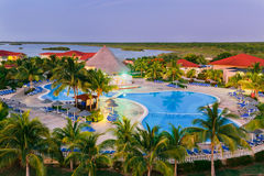 Gorgeous view of resort, hotel grounds at sun set time Stock Photos