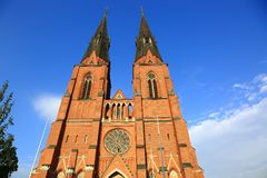 Gorgeous view scandinavia's largest church Uppsala cathedral. Sweden stock images