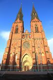 Gorgeous view scandinavia's largest church Uppsala cathedral. Sweden stock photo