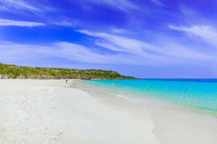 Gorgeous view of tropical white sand beach and ocean against blue sky background on sunny summer day Royalty Free Stock Photos