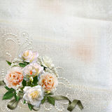 Gorgeous vintage background with roses and pearls Stock Photo
