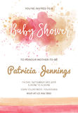 Gorgeous watercolor baby shower invitation Royalty Free Stock Photos