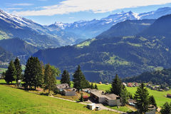Gorgeous weather in the town of Leysin Stock Photo
