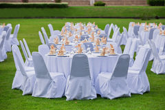Gorgeous wedding chair and table setting for fine dining Stock Photography