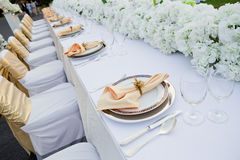 Gorgeous wedding chair and table setting Stock Photos