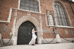 Gorgeous wedding couple, bride, groom posing near old gate building Stock Image
