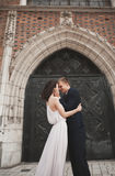 Gorgeous wedding couple, bride, groom posing near old gate building Stock Photo