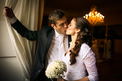 Gorgeous wedding couple Stock Images