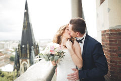 Gorgeous wedding couple walking in the old city of Lviv stock photography