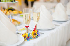 Gorgeous wedding decor on table. With sunflowers Stock Photography