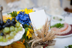 Gorgeous wedding decor on table. With sunflowers Royalty Free Stock Photography