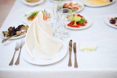 Gorgeous wedding decor on table Stock Photos
