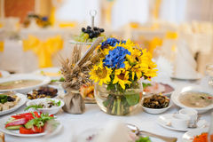 Gorgeous wedding decor on table. With sunflowers Royalty Free Stock Image