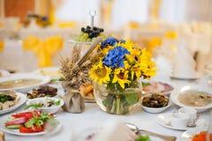 Gorgeous wedding decor on table Royalty Free Stock Image