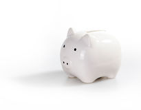 Gorgeous White piggy bank. Isolated on white background Royalty Free Stock Images