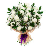 Gorgeous white roses bouquet isolated on white Stock Images