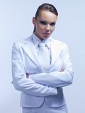 Gorgeous Woman in Attractive All White Suit Stock Images