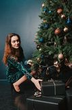 Gorgeous woman in a beautiful dress holding a gift box near Christmas tree. New Year and Christmas decoration concept. Luxury stock photo