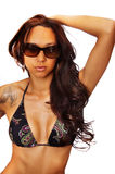 Gorgeous woman in bikini sunglasses Royalty Free Stock Images