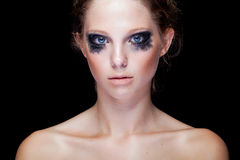 Gorgeous woman with black crying make up Stock Photography