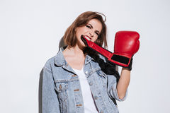 Gorgeous woman boxer  over white background Stock Images