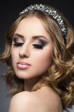 Gorgeous woman in brilliant diadem Royalty Free Stock Photos