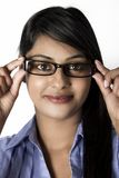 Gorgeous Woman with brown eyes frame glasses Royalty Free Stock Image