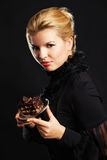 Gorgeous woman with chocolate cake Royalty Free Stock Images