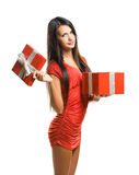 Gorgeous woman with christmas gift  box. Royalty Free Stock Photo
