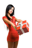Gorgeous woman with christmas gift  box. Royalty Free Stock Photography
