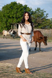 Gorgeous woman in countryside Royalty Free Stock Photo