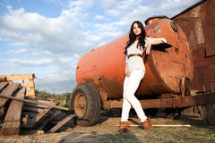 Gorgeous woman in countryside Royalty Free Stock Image