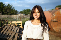 Gorgeous woman in countryside Stock Photos