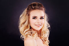 Gorgeous Woman with Curly Hair. Blonde Curly Hair Royalty Free Stock Image