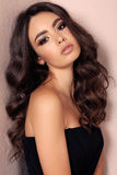 Gorgeous woman with dark hair in elegant clothes Royalty Free Stock Photo