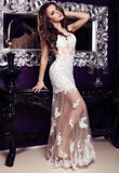 Gorgeous woman with dark hair  in elegant lace dress Stock Image