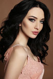 Gorgeous woman with dark hair and evening makeup Stock Photos