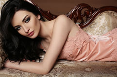 Gorgeous woman with dark hair and evening makeup Royalty Free Stock Photo