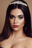 Gorgeous  woman with dark hair and evening makeup Stock Image