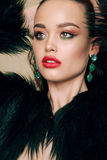Gorgeous woman with dark hair in luxurious fur coat. Fashion studio photo of gorgeous woman with dark hair in luxurious fur coat royalty free stock image