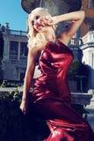Gorgeous woman with dark hair wears luxurious dress and bijou Royalty Free Stock Photos