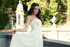 Gorgeous woman with dark hair wears luxurious dress and bijou Royalty Free Stock Image